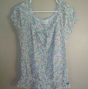 Abercrombie & Fitch Large Floral Peasant Blouse